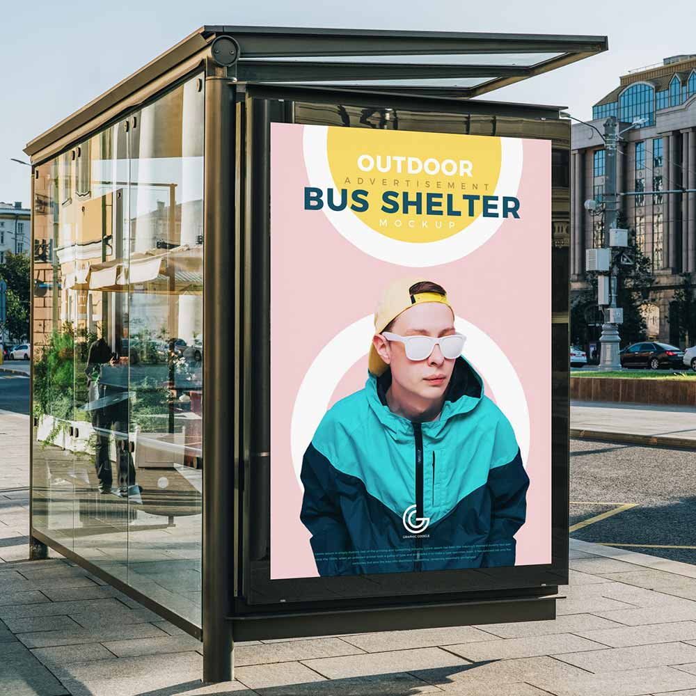 Outdoor Advertisement Bus Shelter Mockup PSD Free [2020